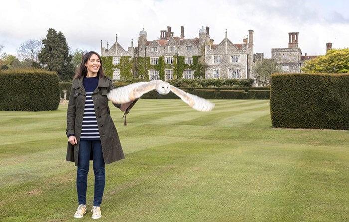 Woman flying a bird of prey
