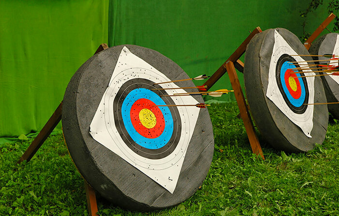 Archery targets with bows